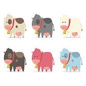Cow simple vector flat cartoon icon set.