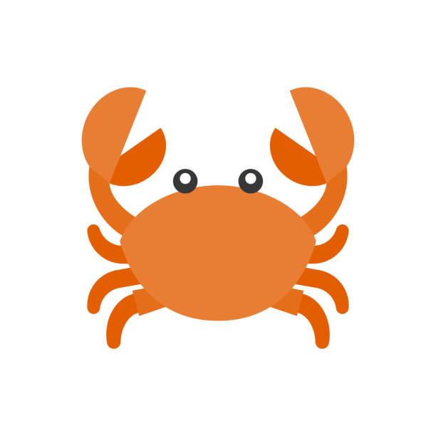 bildbanksillustrationer, clip art samt tecknat material och ikoner med söt krabba tecknad ikon, platt design vektor - krabba