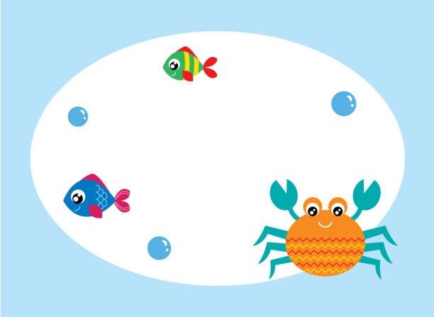 niedliche Krabbe Grußkarte Vektor – Vektorgrafik