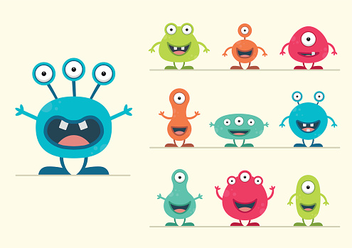 Cute Creature Set - vector illustration