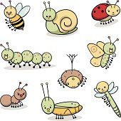 A set of cute critters. Includes a bee, a grasshopper, a ladybug, a spider, an ant, a caterpillar, a butterfly, a dragonfly, and a snail.