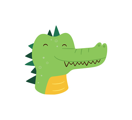 Cute crocodile. Animal kawaii character. Funny little croc face. Vector hand drawn illustration isolated on white background