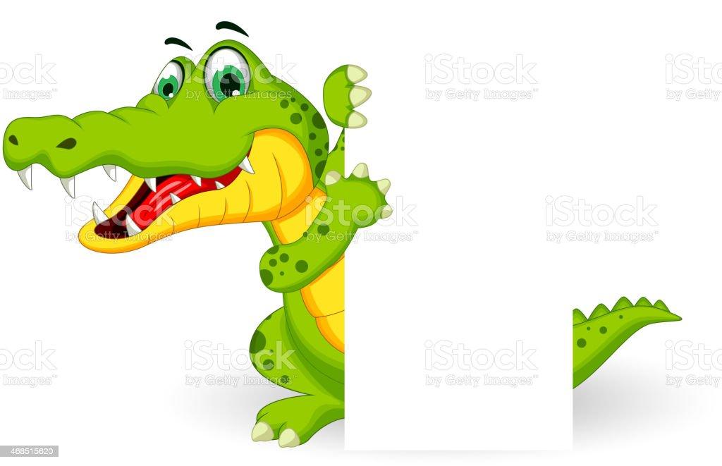 cute crocodile cartoon posing with blank sign vector art illustration