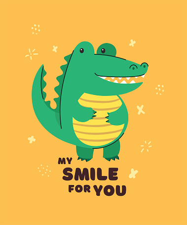 Cute crocodile smiling. Text My smile for you. Animal kingdom set. Super-kawaii and adorable animals. Cartoon character and lettering. Flat illustration for kid's poster, t-shirt and other art.