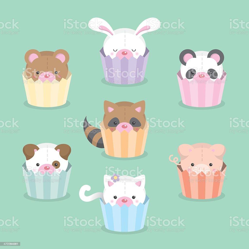 Cute cupcake critters animals vector art illustration