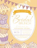 Cute Cupcake Background with a Bridal Shower Invitation. The base is striped with two strands of bunting flags at the top. There is an assortment of cute cupcakes.