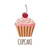 Cute cupcake icon in flat style isolated on white background. Vector illustration
