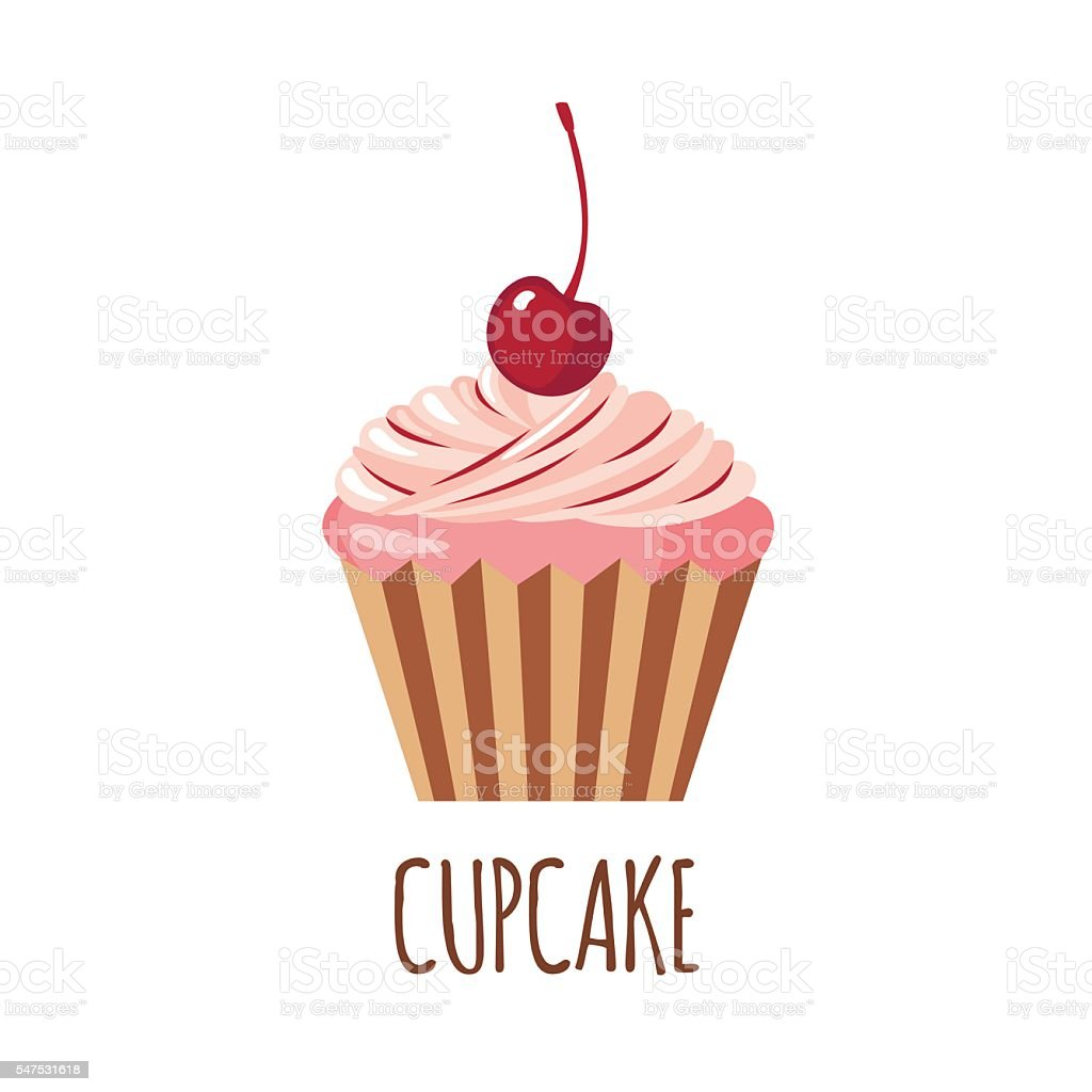 Cute cupcake icon vector art illustration