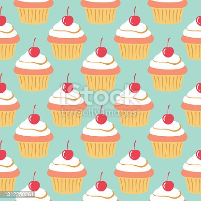 istock Cute cupcake pattern. Isolated muffin cake illustrations on mint background. Retro food print. 1312250261
