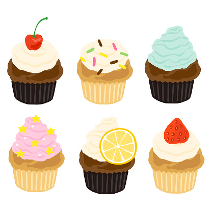 Cute cupcake set with cream and fruit