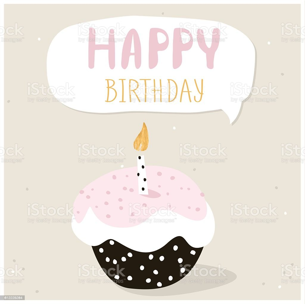 Cute Cupcake With Happy Birthday Wish Greeting Card Template Lizenzfreies