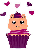 cute cupcake with kitten in kawaii style.