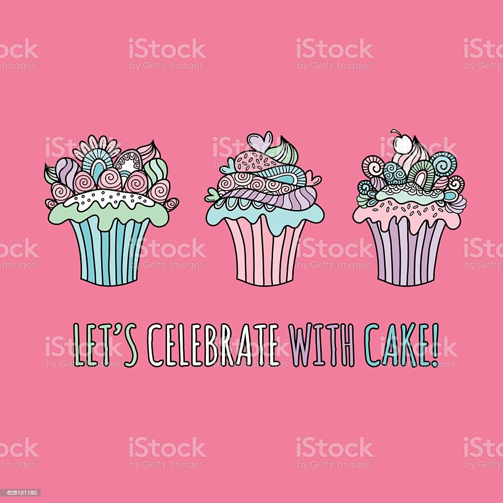 Cute Cupcakes Hand Drawn Doodle Vector on pink background vector art illustration