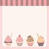 cute cupcakes pink template