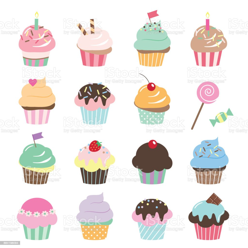 Cute cupcakes set isolated on white. vector art illustration