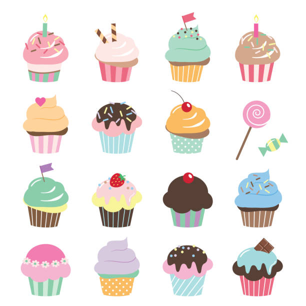 Cute cupcakes set isolated on white. Cartoon cupcake icons set. Cute birthday stickers. cupcake stock illustrations
