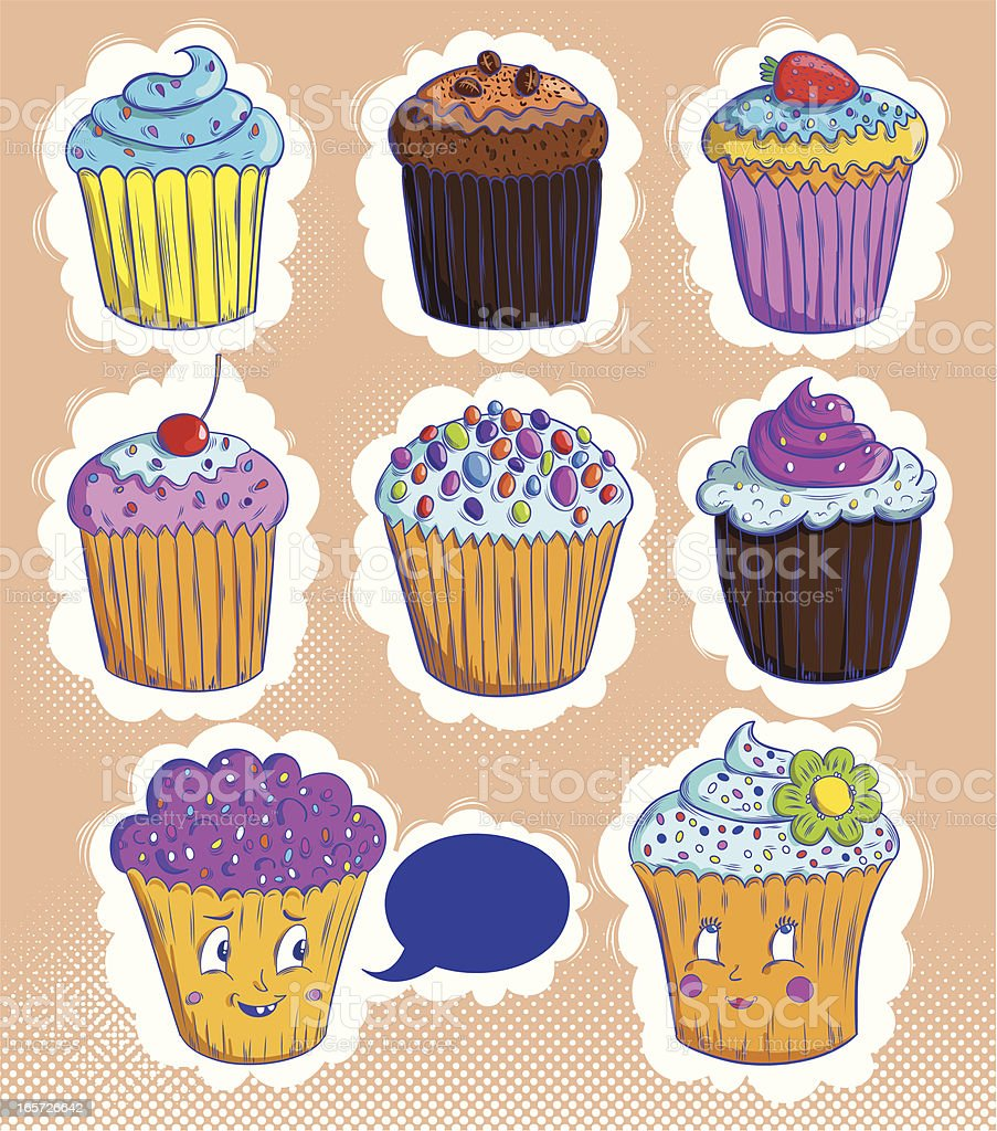 Cute cupcakes royalty-free cute cupcakes stock vector art & more images of anthropomorphic smiley face