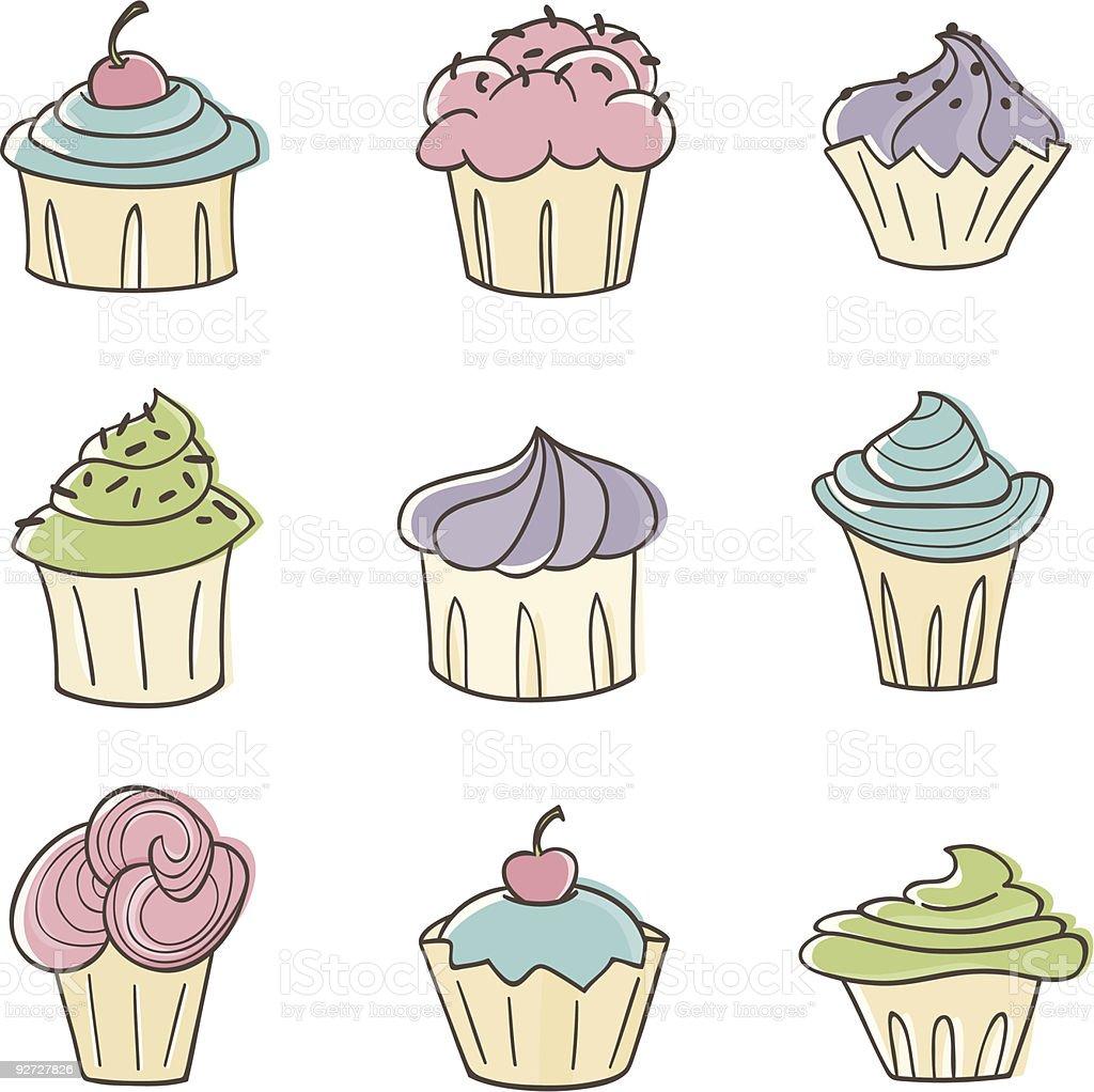 かわいいカップケーキ いたずら書きのベクターアート素材や画像を多数