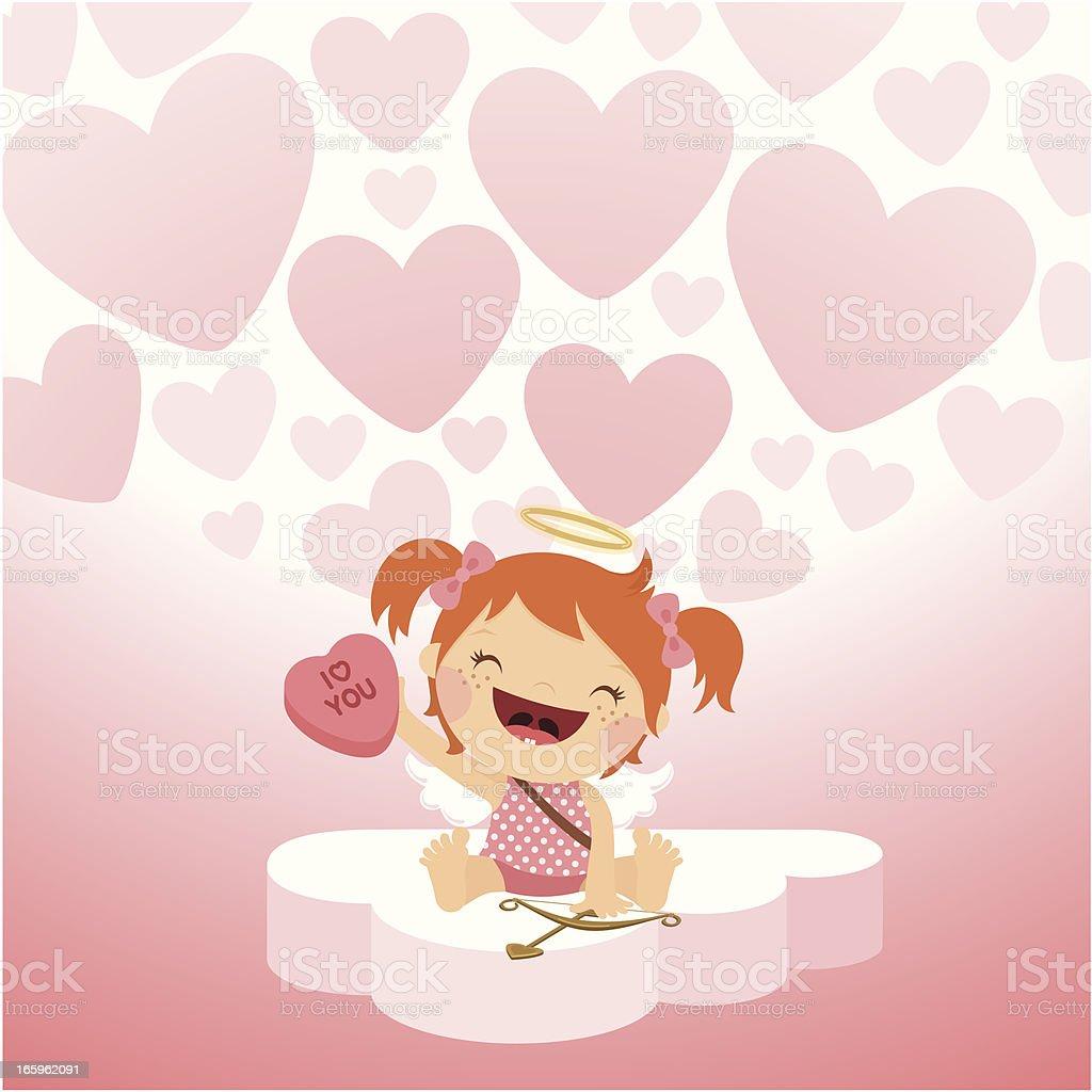Linda chica cupid love candy ilustración vectorial - ilustración de arte vectorial