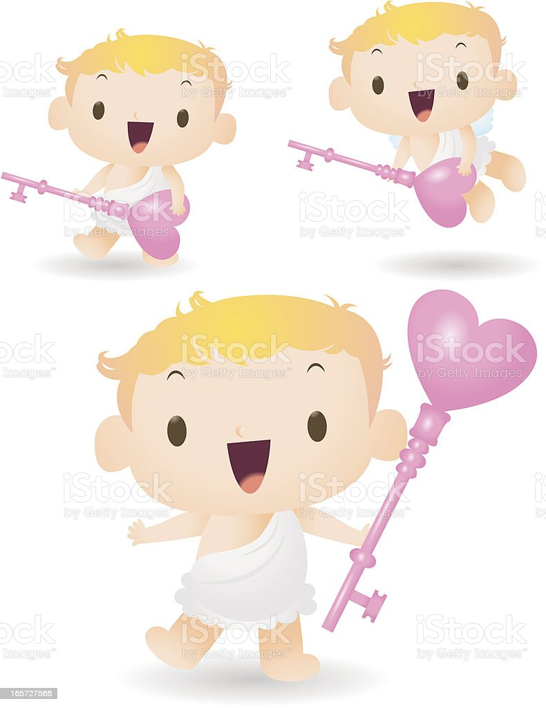 Cute cupid holding a love key, open your heart vector art illustration