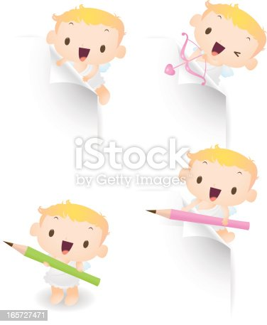 Vector illustration - Cute cupid use pencil, paper, arrow to showing something.