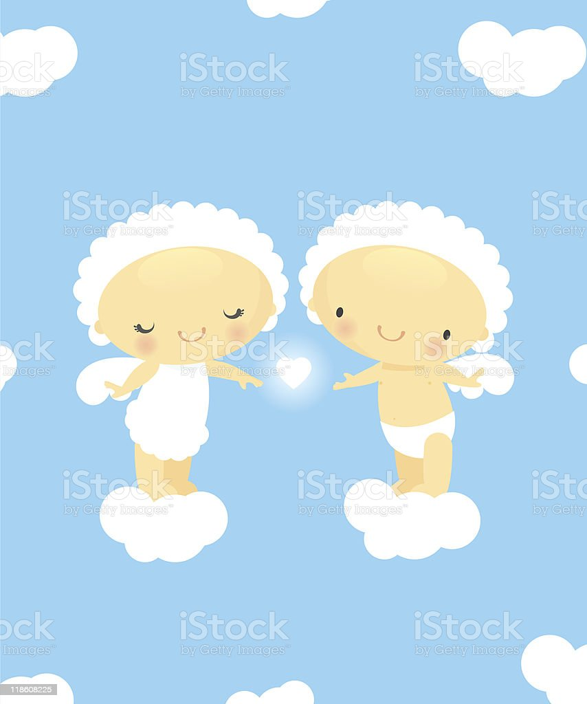 Cute cupids in love royalty-free stock vector art