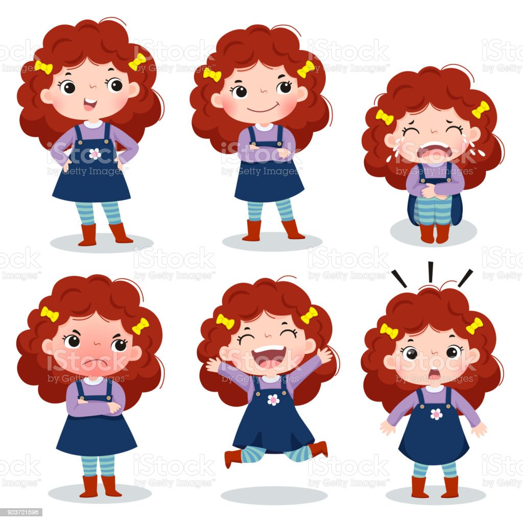 Cute curly red hair girl showing different emotions vector art illustration