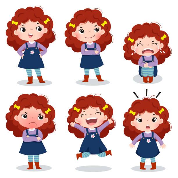 Fille cheveux roux bouclés cute montrant différentes émotions - Illustration vectorielle