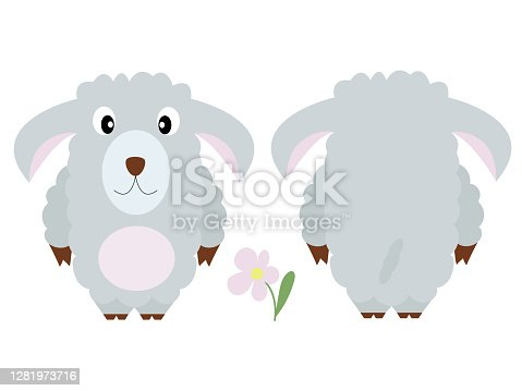 istock Cute curly sheep.  Vector illustration of the animal, isolated on a white background. Print for clothes, label, patch, sticker. For cards for children's holidays or drawing training 1281973716