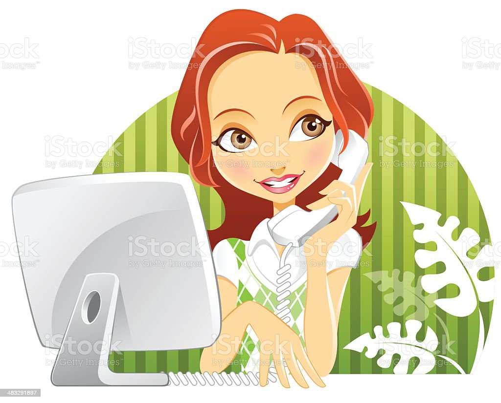 Cute Customer Service Woman with Computer Monitor and Phone vector art illustration
