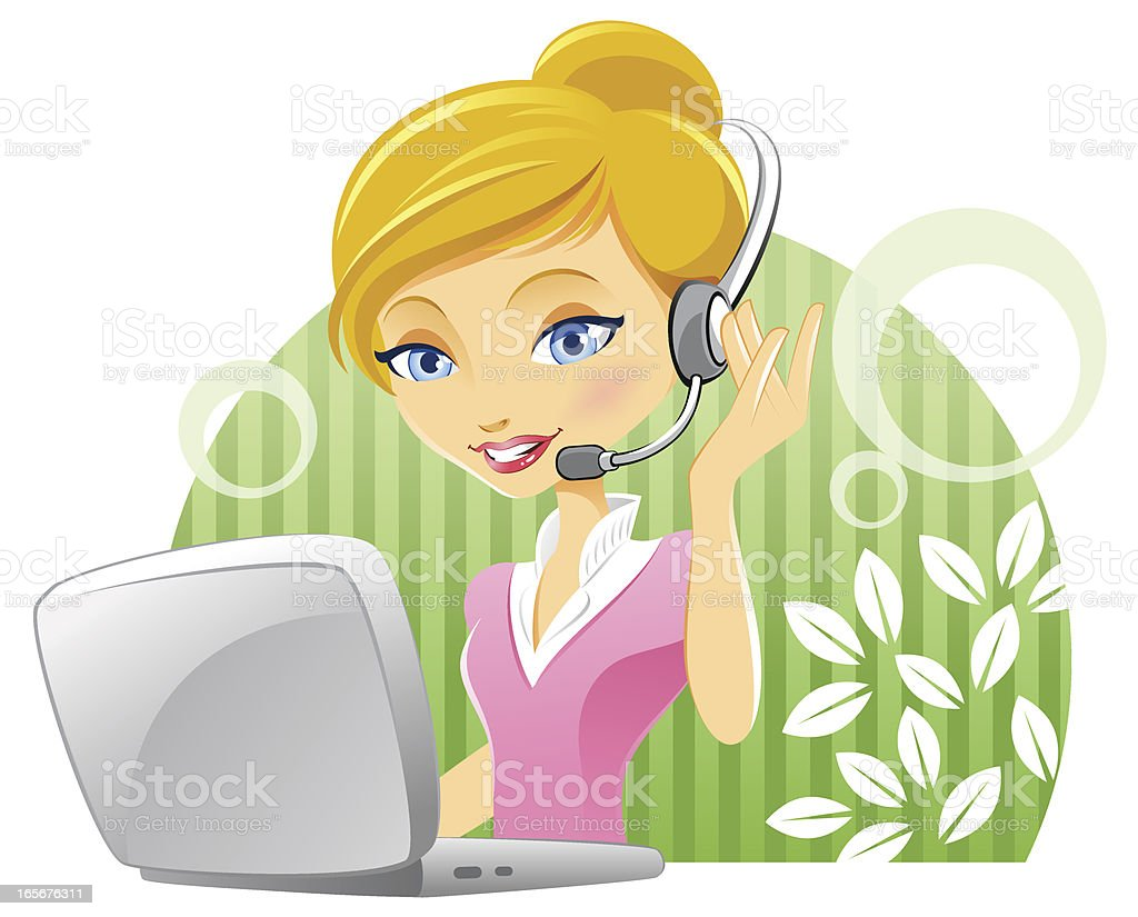 Cute Customer Service Woman with Laptop and Headset royalty-free cute customer service woman with laptop and headset stock vector art & more images of adult