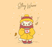 cute cut in warm winter coat, scarf and beanie hat holding coffee take away flat vector, idea for greeting card, children stuff print, banner