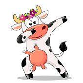 Cute dabbing cow isolated on whute background