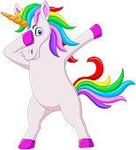 Vector illustration of Cute dabbing horse unicorn cartoon dancing