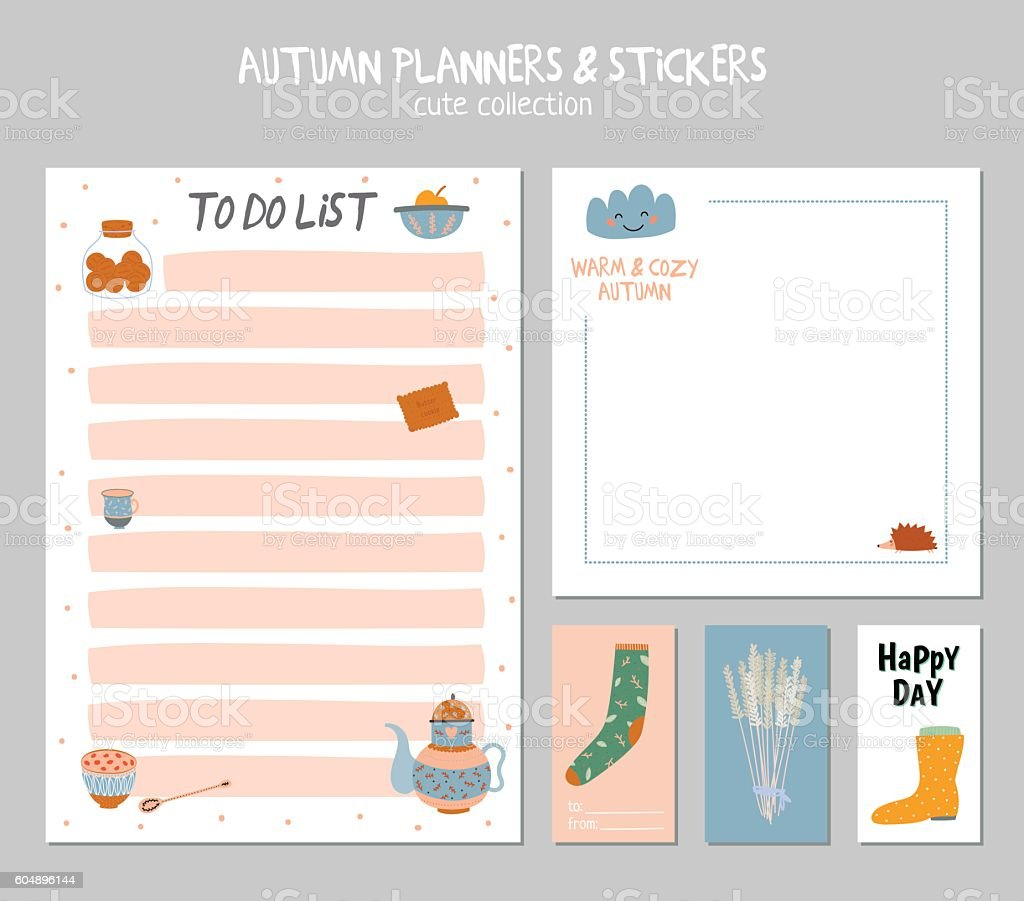 cute daily calendar and to do list template stock vector art & more
