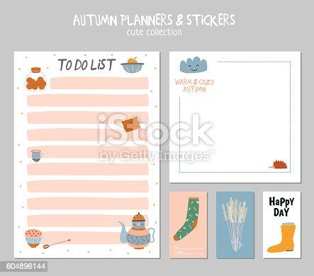 cute daily calendar and to do list template arte vetorial de stock