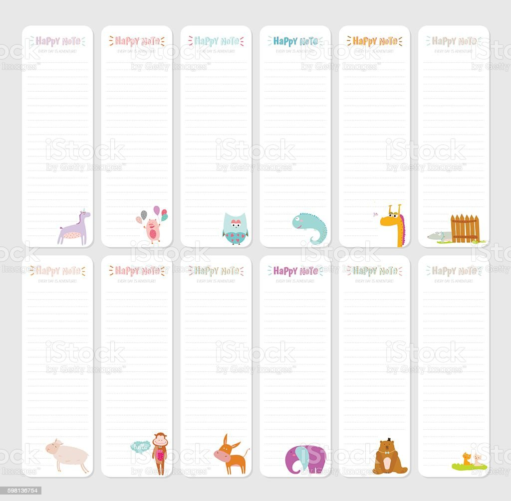 cute daily note template stock vector art more images of animal