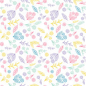 Cute Daisy Pattern In Circus Colors.