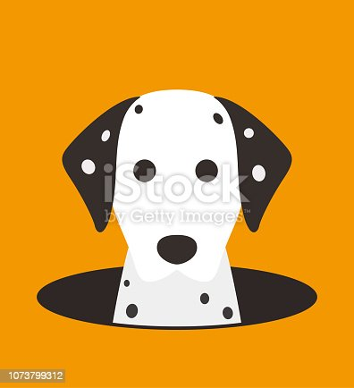 istock cute dalmatian dog on the cave,watching, vector illustration 1073799312
