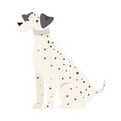 Cute friendly dog with black spots and ears. Isolated raster icon illustration on white background in cartoon style.