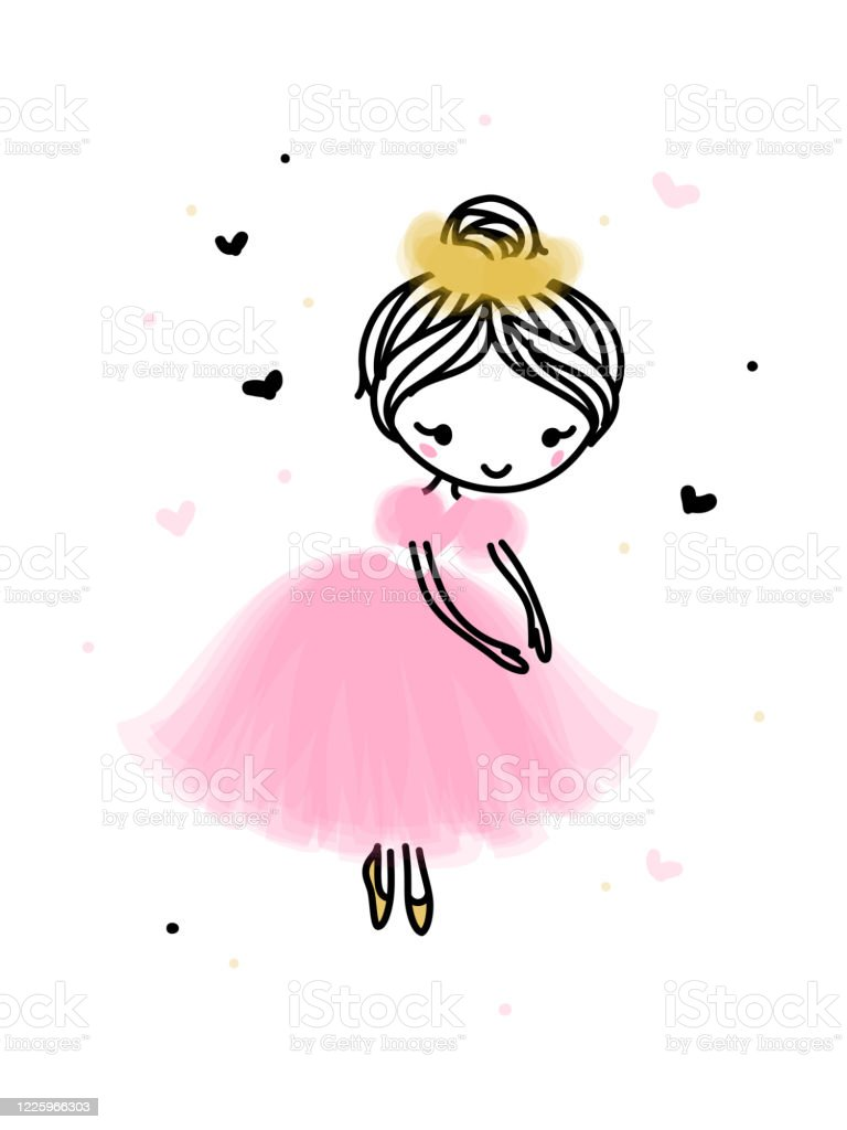 Cute Dancing Ballerina In Pink Transparent Skirt Hand Drawn Cartoon With Adorable Little Ballet Dancer Simple Vector Illustration Isolated On White Editable Stroke Stock Illustration Download Image Now Istock