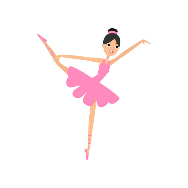Cute dancing brunette girl, ballerina pink dress Cute dancing brunette girl, ballerina pink dress, textile material. Flat style. Vector illustration on white background diademe stock illustrations