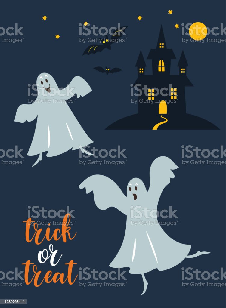 cute dancing ghostes vector illustration for halloween invitation