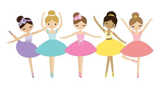 Cute Dancing Little Ballerinas Vector Illustration.