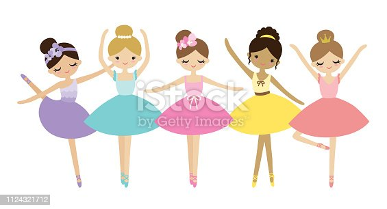 Vector illustration of cute dancing little ballerinas. Prima ballerinas in tutu ballet costumes.