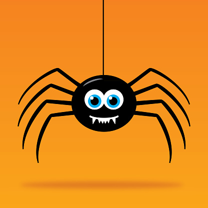 Vector illustration of a cute smiling spider hanging above his shadow on an orange background.