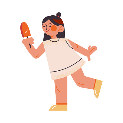 Cute dark-haired girl in a white dress standing with ice-cream. Vector illustration in the flat cartoon style