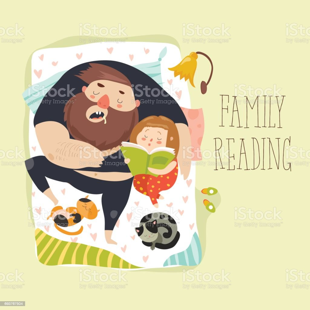 Cute daughter reading bedtime story to his father vector art illustration