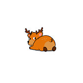 Cute deer lying down and looking back, vector illustration