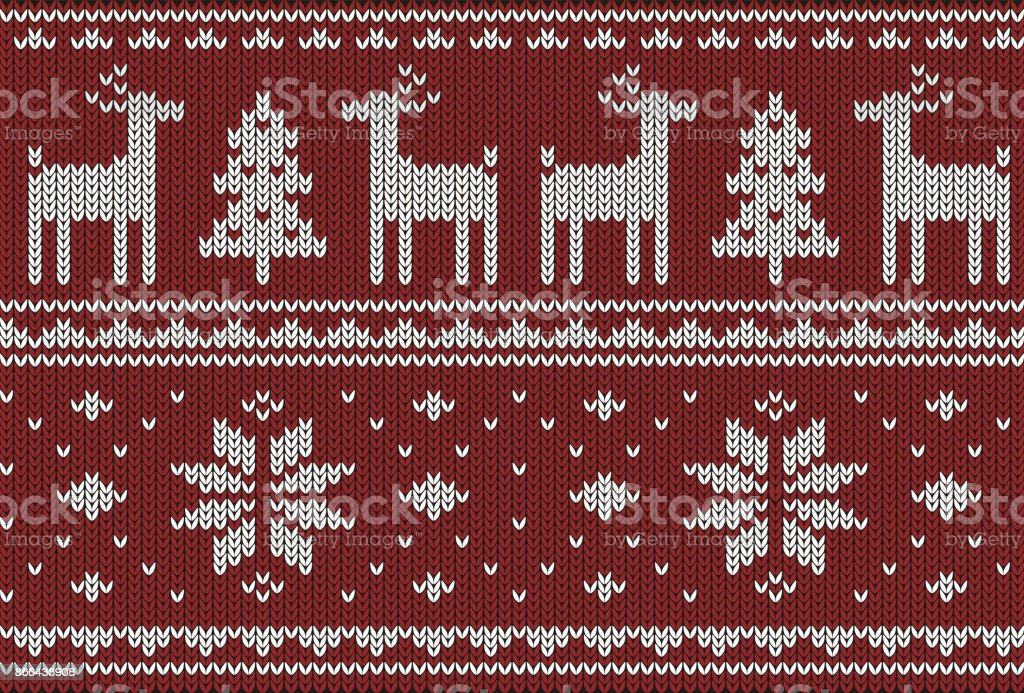Cute Deer On The Knitting Pattern Happy New Year Vector Illustration ...